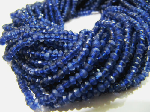 Natural Iolite Rondelle Faceted Briolette Size 3-4mm Beads Strand 13 inches Long