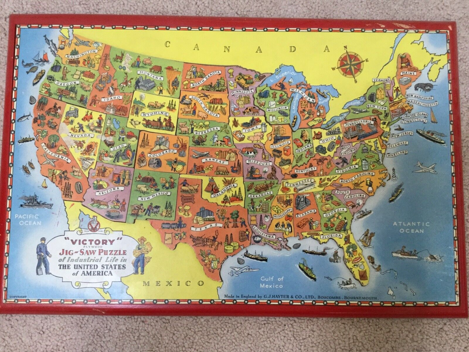 VINTAGE Victory Plywood Jig Saw Puzzle Industrial Life in United States Map-1959