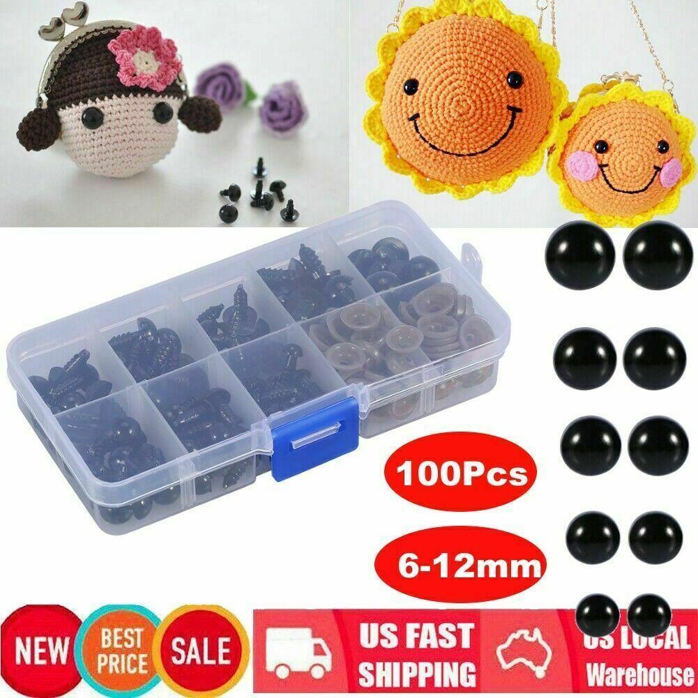 100Pcs Eyes for Bear//Doll Felting Multi-Purpose Crafting Plastic Safety Eyes