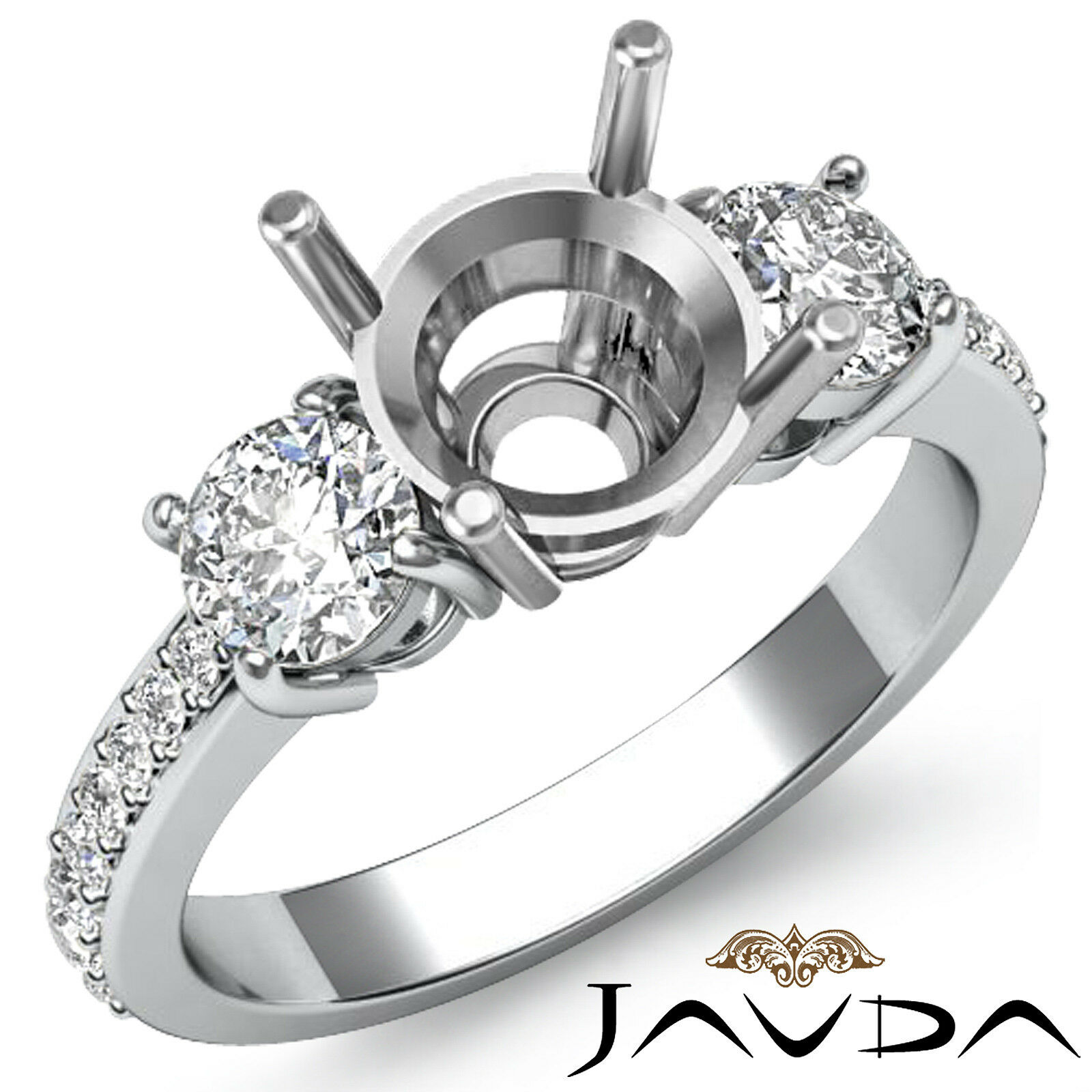 1.58 Ct Diamond Round Ring Vvs1 Channel Set 18 Karat White Gold Size 4.5 6 7.5 9 Fine Jewelry