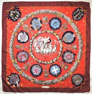 RARE-Authentic-HERMES-Paris-Emblemes-de-l-039-Europe-RED-Gray-Jacquard-Silk-34-SCARF