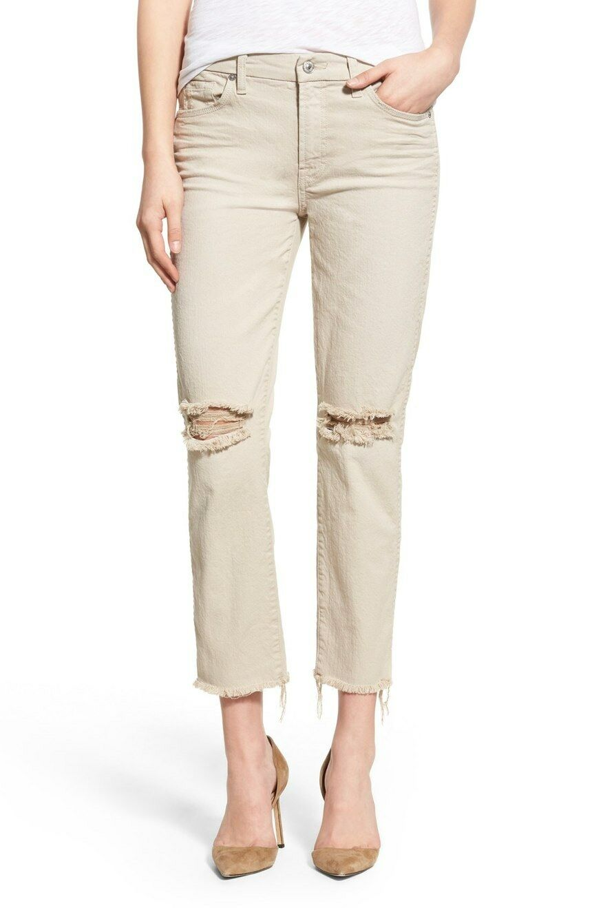7 FOR ALL MANKIND Ankle Straight Leg Raw Hem Pant Jeans Sand AU8169495S 27 NWT