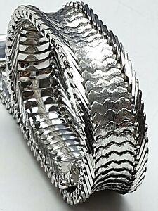 Art-Deco-Teppich-Armband-835-Silber-punz-Fischschuppen-Muster-20cm-1-5cm-A455