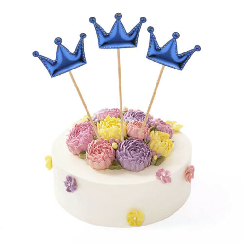 20pcs Cute PU Leather Crown Cupcake Topper Birthday Party Cake Picks Photo Prop