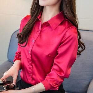31e2dbc5fed18c Women Satin Silk Long Sleeve Button-Down Shirt Formal Work Shiny ...