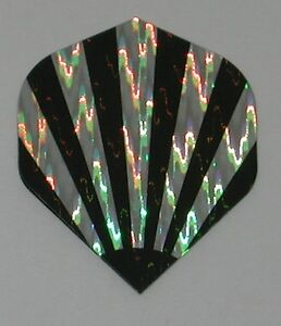 3 Sets BLACK STRIPES Holographic Standard Dart Flights - FREE SHIPPING 6435