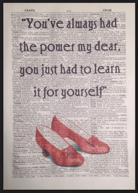 Wizard Of Oz Always Had Power Quote Vintage Dictionary Book Page