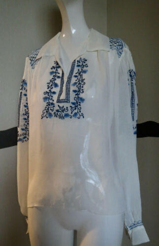 Vintage 1930s Blouse Silk Hungarian Embroidery