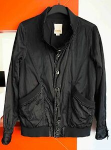 DIESEL-Women-039-s-Button-Front-Black-Lightweight-Bomber-Jacket-size-Small