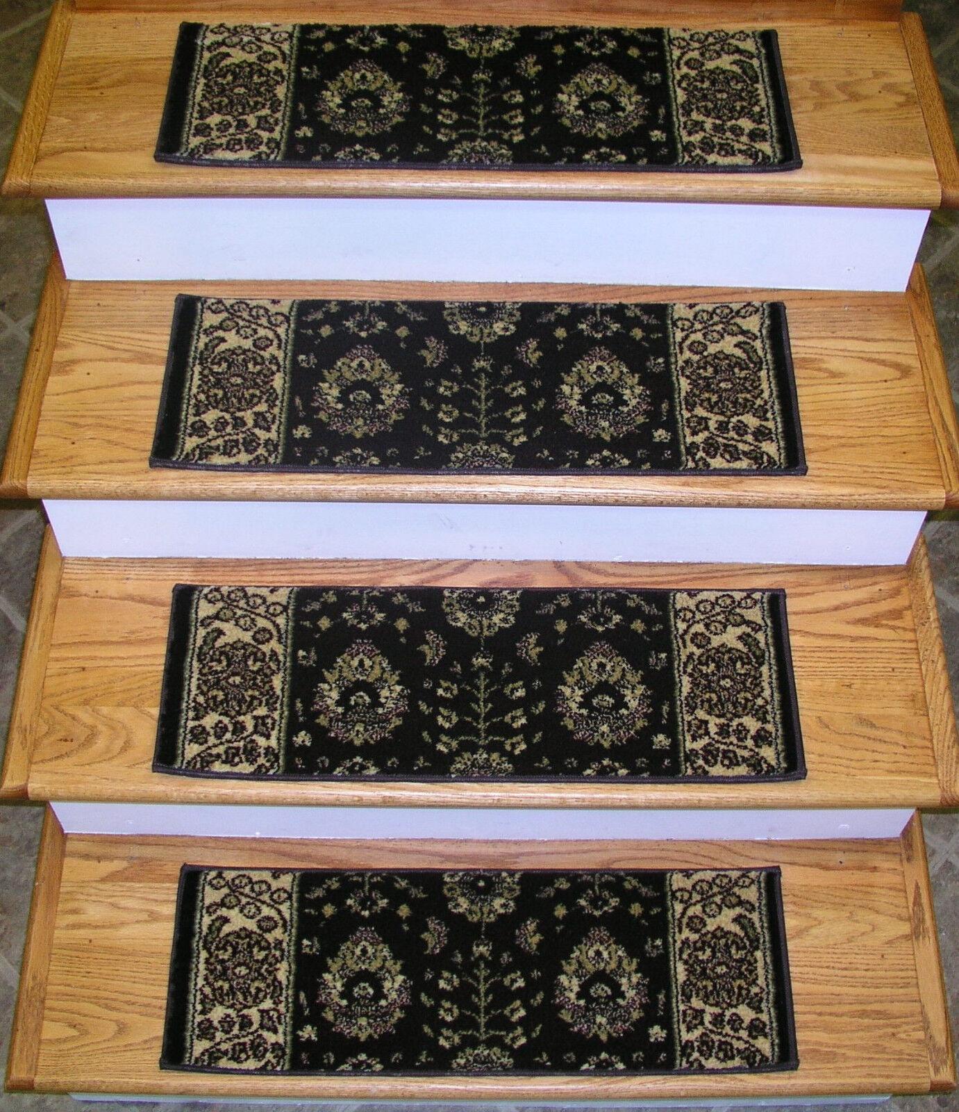 Rug Depot Set of 13 Traditional Non Slip Carpet Stair Treads 26  x 9  Marronee