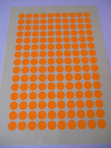 300  Markierungspunkte 15 mm Leuchtorange  RUND Klebepunkte 2 Bogen Orange