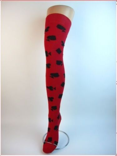Red Playing Card Over The Knee Knit Socks//Fancy Dress
