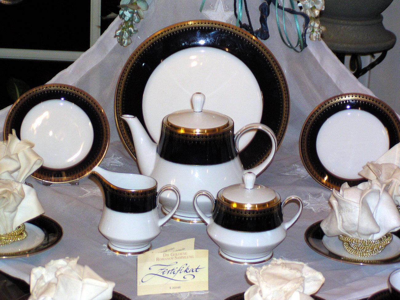 Elegante juego de té de Romanov cobalto oro nuevo 21 pzas. top