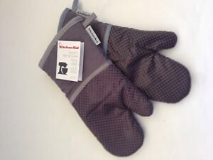 New Set Of 2 Silicone Kitchenaid Gray Grey Oven Mitts