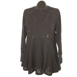 Free People Inside Out Stitch Women's Dress Black Knit Sheer Long Sleeve Size M