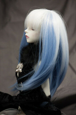 Doll Wig Straight Snow White Fade Saxe Blue BJD Ball Jointed Doll Size 6-7 8-9