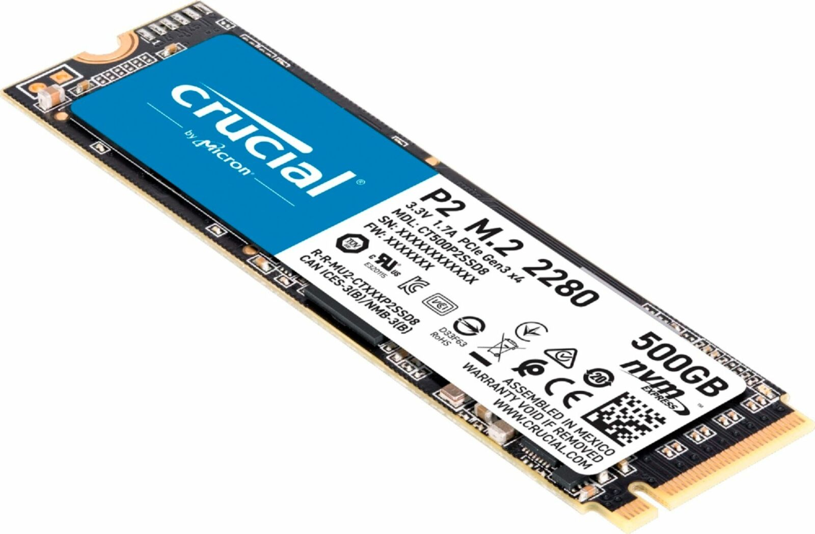 Crucial - P2 500GB 3D NAND NVMe PCIe M.2 Solid State Drive. Buy it now for 59.99