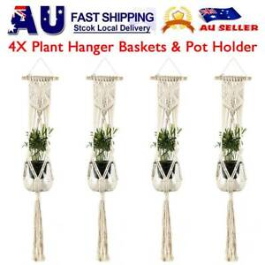 4-PCS-Pot-Holder-Macrame-Plant-Hanger-Hanging-Planter-Basket-Hemp-Rope-Braided