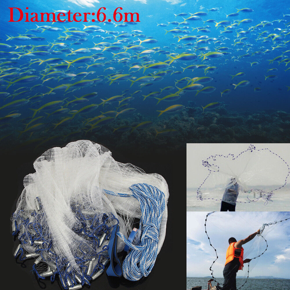 6.6M 22ft Big Nylon Monofilament Fish Gill Net Easy Throw Fishing For Hand Cast