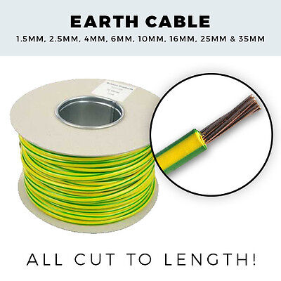 Earth Cable | 1.5mm - 35mm | 1M - 100M Drum - Green and Yellow Earth