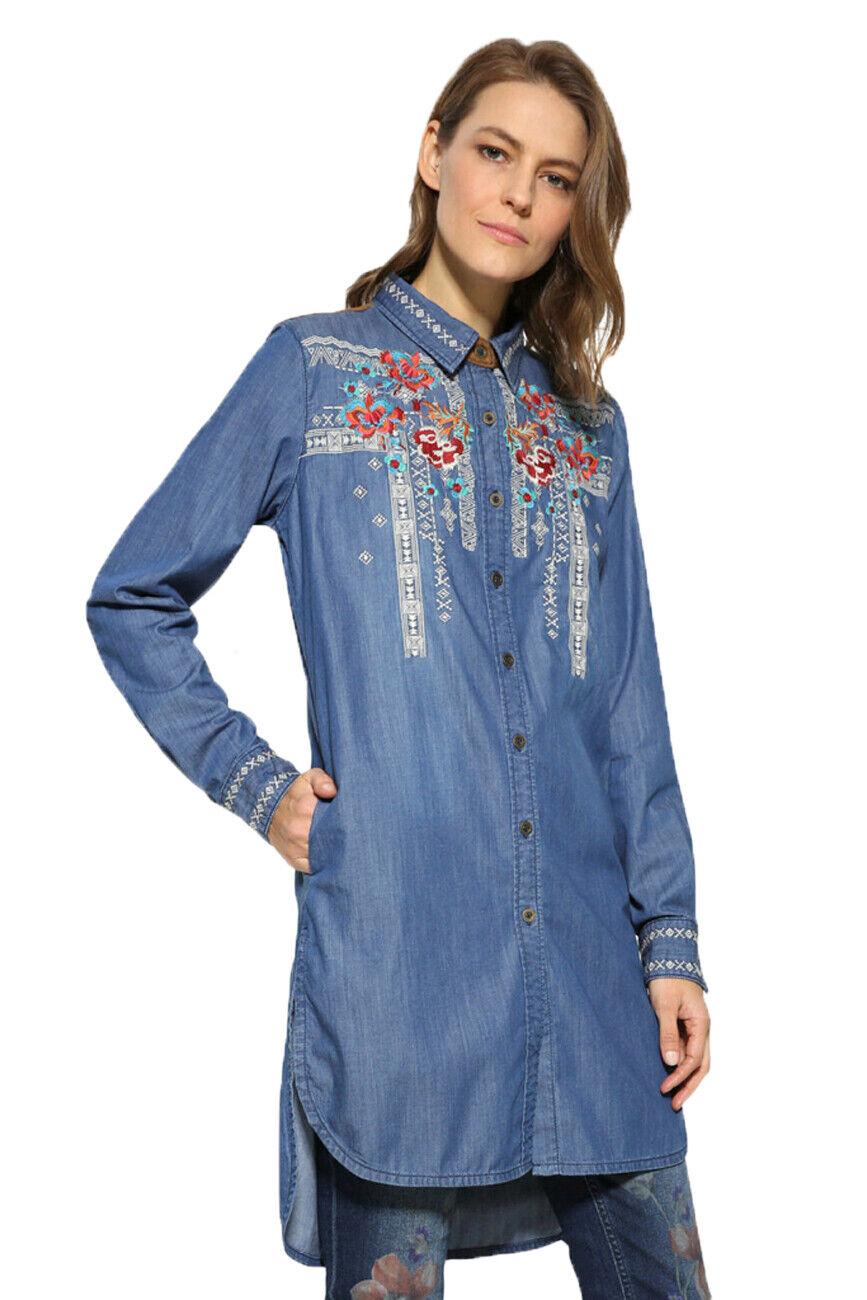 Desigual denim bleu Lizzy Shirt Broderie Florale XS-XXL UK 8-18  94