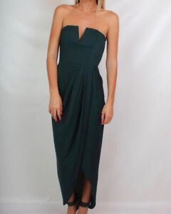 reputable site special discount of best sale Details about SHONA JOY bustier v draped strapless dress emerald green  seaweed 6 8