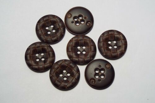 8pc 22mm Brown Mock Woven Leather Effect Coat Trouser Cardigan Kid Button 2747