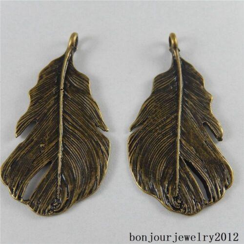 48x24mm Antiqued Bronze Alloy Metal Banana Leaf Pendant Craft Accessories 6 pcs