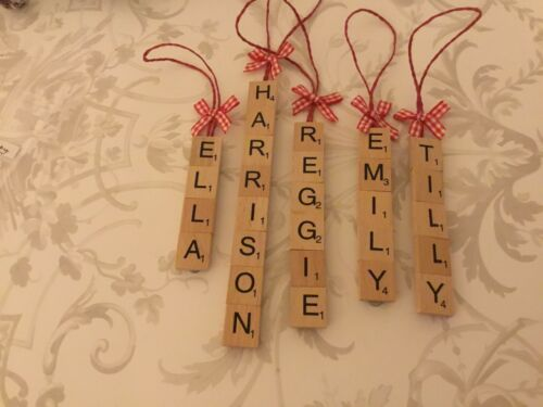 Scrabble Letter Name Hanging Christmas Tree Decorations