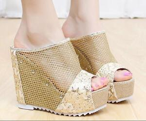 Summer-Womens-Mesh-Rivet-Platform-Wedge-Open-toe-Heels-Slingbacks-Sandals-Shoes
