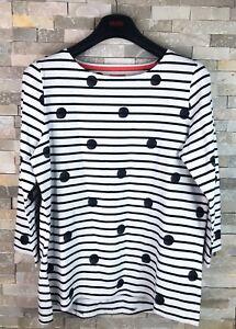 Joules-Ladies-Size-UK-14-Polka-Dot-White-Striped-Tunic-Long-Sleeve-Top