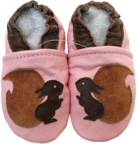 carozoo squirrel pink 5-6y soft sole leather kids shoes