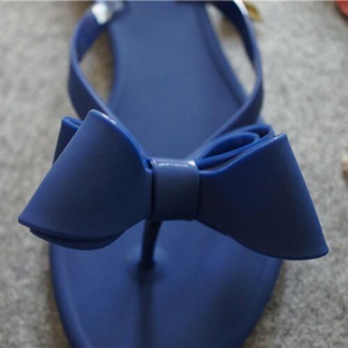 Women Summer Bow Knot Flip Flops Flat Sandals Summer Beach Slippers Toe Shoes