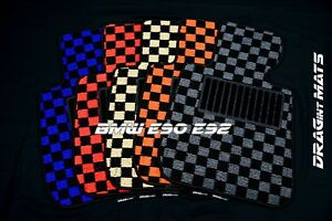 DRAGintMATS-JDM-Checkered-Floor-Mats-BMW-E90-E92-328i-335i-M3-Karo-Coco-LHD