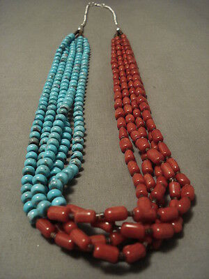 ABSOLUTELY STUNNING MODERNISTIC TURQUOISE & CORAL STERLING SILVER NECKLACE