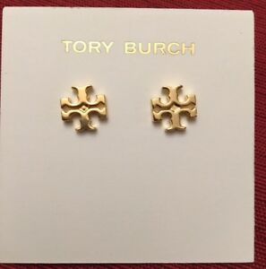Image Is Loading Authentic Tory Burch Logo Stud Earrings Shiny Gold