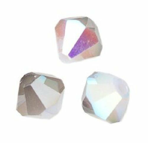 20 Perles Toupies 4mm en cristal Swarovski  WHITE ALABASTER AB SATIN