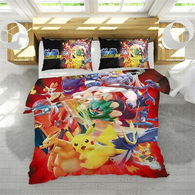 3D Kids Bedding Set Pokken Tournament DX Pikachu Duvet//Quilt Cover Pillow Case