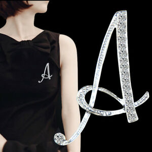 Image is loading Lady-Alphabet-Letter-A-Z-Crystal-Rhinestone-Initial-Name- 3d225b96a09e