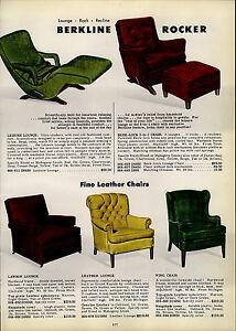 Image Is Loading 1954 PAPER AD Berkline Leisure Lounge Berk Lock