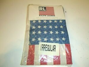 ONE NEW Ralph Lauren USA  American Flag Std. Pillowcase 100% Cotton Irreg.