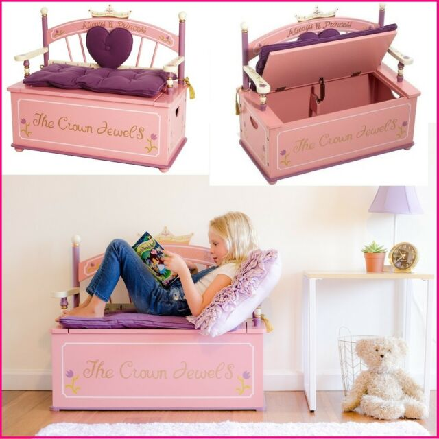 Pleasing Girl Room Furniture Princess Storage Bench W Cushion Kid Bedroom Playroom Decor Caraccident5 Cool Chair Designs And Ideas Caraccident5Info