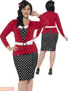 0d1da0177d24 Details about Ladies 1950s Pin Up Curves Costume Adult Womans 50s Plus Size  Fancy Dress Outfit