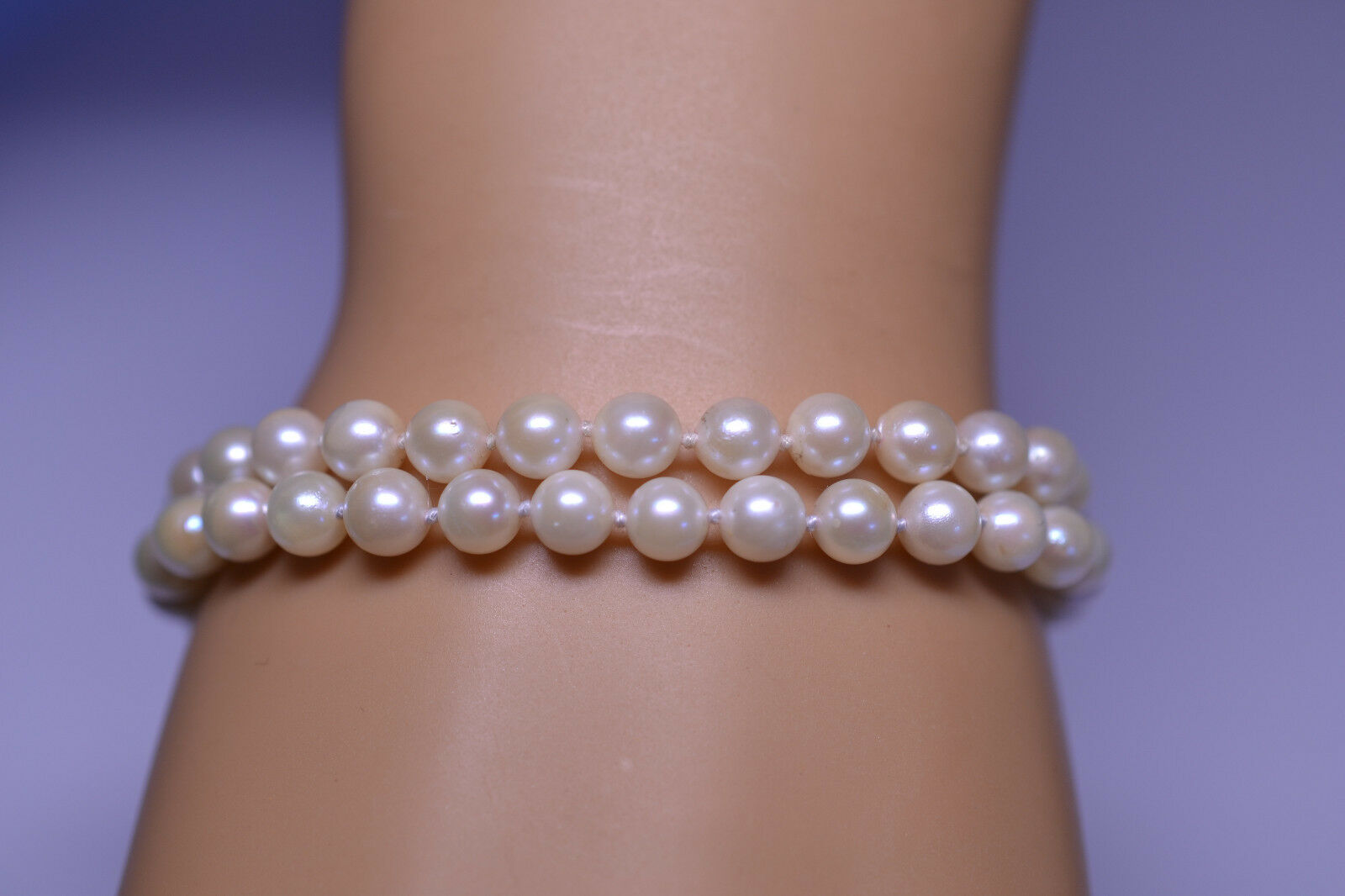14K WHITE gold DOUBLE STRAND PEARL BRACELET WITH FILIGREE BOX CLASP 6.75 INCHES