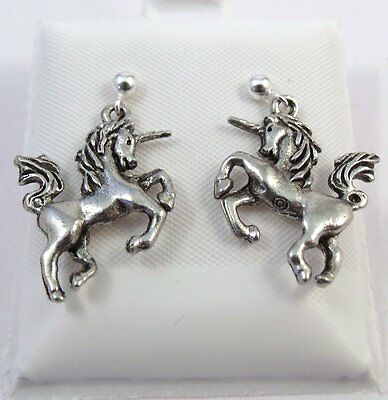 Child's Pewter Unicorn Charms on Sterling Silver 3mm Ball Post Earrings-1039