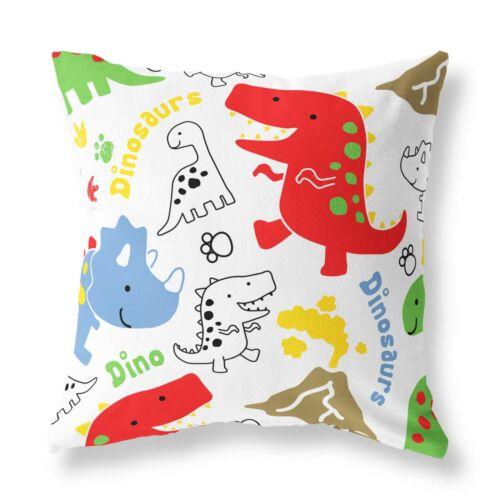 Red dinosaures enfants Zip Rempli Coussin Blanc Designer