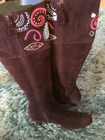 Boden Brown Embroidered Leather Suede Boots Size 3.5 (36) Rrp £130