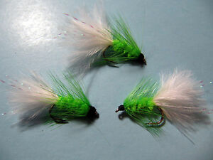 3 X  BLACK AND  LIME  FRITZ WOOLY BUGGER SHORT SHANK sizes 10,12  available