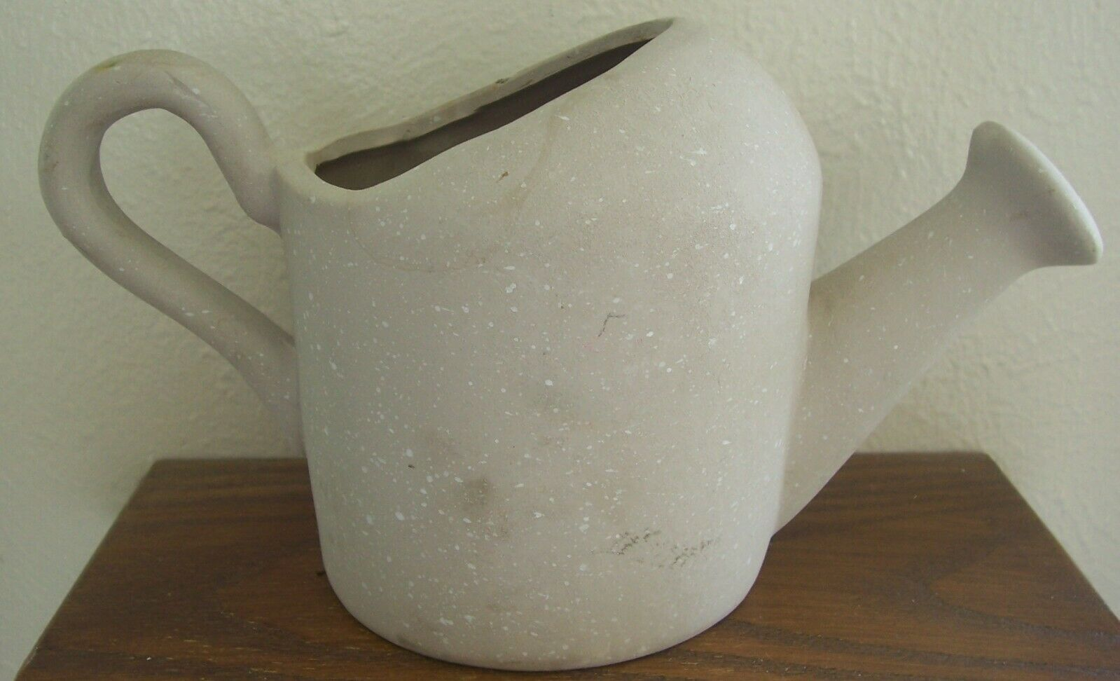 Small Gray Pottery Watering Can Planter with Embossed Flowers & Bee
