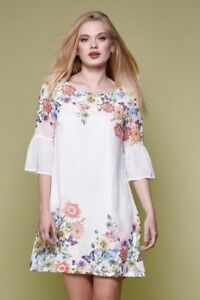 Rrp Yumi Ivory Gg Dress Dh091 03 Size Flared Floral Uk Sleeve 8 Tunic £45 q4rZpSAzq